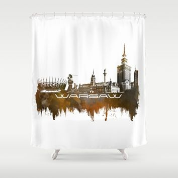 Warsaw skyline city brown Shower Curtain by Jbjart
