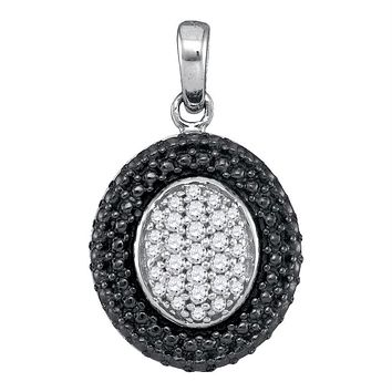 Sterling Silver Womens Round Diamond Oval Black Rhodium Frame Cluster Pendant 1-5 Cttw