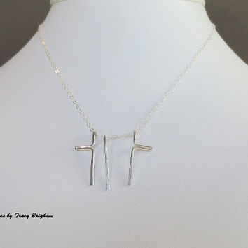 Trinity Cross Sterling Silver 3 piece Wire Pendant Necklace Best Friend Mother Sister Grandmother Bridesmaid Maid of Honor Gift