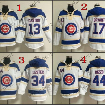 Chicago Cubs #13 Starlin Castro Red Hooded Sweatshirt Hockey Jackets New Style All Teams Outdoor Uniform size 48-56 free shipping