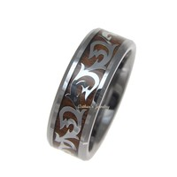 GENUINE INLAY HAWAIIAN KOA WOOD SHINY SCROLL BAND RING TUNGSTEN COMFORT FIT 8MM