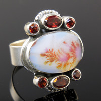 Dendritic Agate & Garnet Gemstone Sterling Silver Ring - Size 7