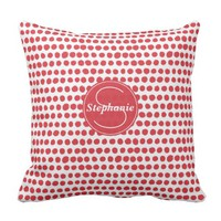 Red and Blue Polka Dot Patterned Monogrammed Throw Pillow