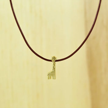 Tiny Giraffe Necklace, Gold Plated Brass Pendant, Genuine Leather Cord, Everyday Wear, Perfect Gift, also in Rhodium Plated