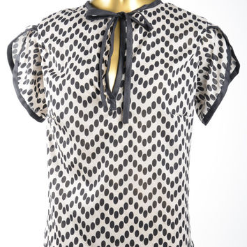 Chevron Dot Silk Blouse - Black and Ecru Tie Neck Top with Tulip Sleeves