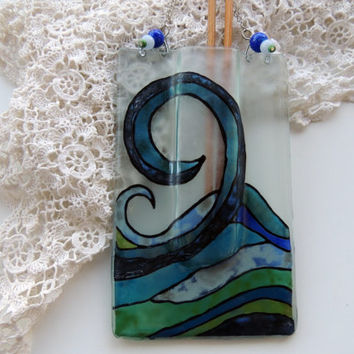 Fused glass pocket vase,painted pocket vase,wall hanging vase,reed diffuser,sea waves vase