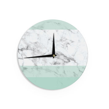 "KESS Original ""Mint Marble Fade"" White Green Wall Clock"