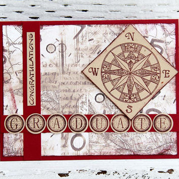 College Graduation Card with Compass, Congratulations Notecard, High School Graduation, Red and Brown, Handmade Greeting Card, Congrats Grad