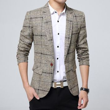 201 men's suit British wind checked dress Cultivate one's morality youth west green suit