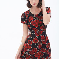 LOVE 21 Rose Print Tea Dress Black/Red