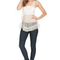 Ivory Delicate Crochet Crepe Lace Racerback Tank