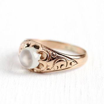 Antique Moonstone Ring - Edwardian 10k Rosy Yellow Gold Solitaire Cat's Eye Gemstone - Size 5 1/2 Vintage 1900s Orb Fine Belcher Jewelry