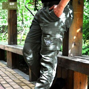 VONL8T HANWILD Men Summer Outdoor Hiking Quick Dry pant Male Fishing Sports Trekking Trousers Anti-UV Plus Size Camping Hunting P54