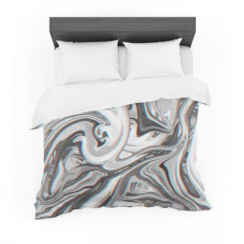 """Tobe Fonseca """"Marble Glitch Pattern"""" White Gray Abstract Pattern Digital Mixed Media Featherweight Duvet Cover"""