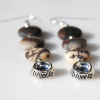 Handmade sterling silver dog bowl earrings. Matte Outback Wood Jasper & sterling silver earrings. I love my dog earrings, Dawg bowl earrings