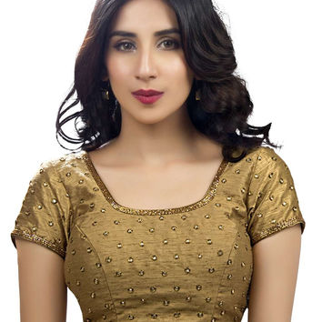 Charming Silk Party-Wear Copper Sari Blouse SNT-KP-106-SL