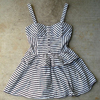 Forever 21 S M Black White Striped Rockabilly Pinup Peplum Retro Sun Dress