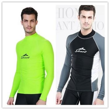 UV Protected Rush Guard Beach Wear Long Sleeve  Men's Swimming Surfing T Shirt