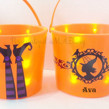 Halloween bucket, Light up Halloween bucket ,trick or treat, Personalized light up bucket, Trick or treat bucket, Halloween