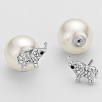 White Double Sided Pearl Elephant Earrings