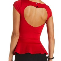 HEART CUT-OUT BACKLESS PEPLUM TOP