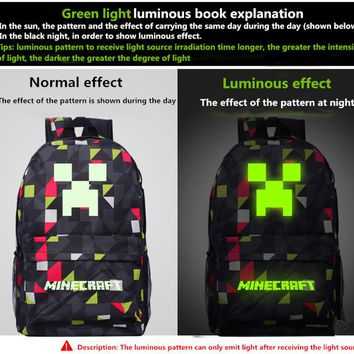 "2017 Newest Royal Oxford ""Minecraft Glowing School Bag"" Travel Leisure Bag Bts Back To School Vance Sac A Dos Backpacks"