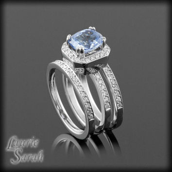 Cushion Cut Ceylon Sapphire and Diamond Three Ring Wedding Set in 14kt White Gold - Man's Wedding Band -  For Swaywell - 12th payment