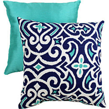 Pillow Perfect Decorative Blue/White Damask Square Toss Pillow | Overstock.com