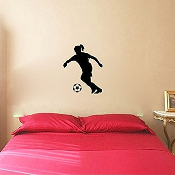 Soccer Player Girl and Ball Vinyl Wall Decal Sticker Graphic