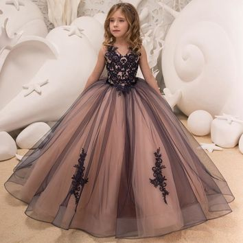 Girls Tulle Sleeveless Double V-neck Lace Appliques Ball Gowns Flower Girl Dresses Princess Birthday Party Wedding Gowns