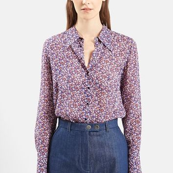 Women's Topshop Unique 'Ottoline' Floral Print Long Sleeve Silk Shirt,