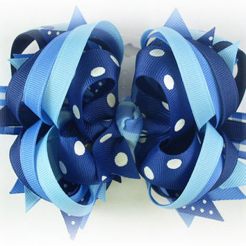 Boutique stacked bow, Blue hair bow, Bue bow, Boutique hair bow, Toddler hairbow, Over the top bow, Hair bows for girls, Pageant bow