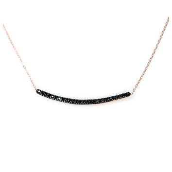 Rose Gold Plated .925 Sterling Silver Black CZ Lined Bar Necklace