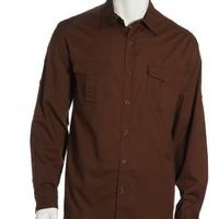 Field Gear Brown Herringbone Long Sleeve Adjustable Barrel Cuff Button Front Shirt