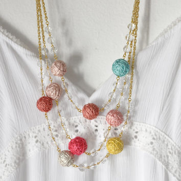 Autumn Bib Statement Textile Pink Mint Yellow Gold Romantic Wedding Necklace Colorful  Bridesmaids Jewelry Fall Trends Accessories