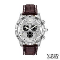 Citizen Eco-Drive Stainless Steel Perpetual Calendar Chronograph Leather Watch - BL5470-06A - Men