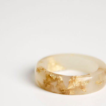 resin ring | pale rose size 6.5 band ring | eco resin ring with gold flakes