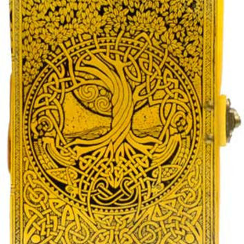 Tree of Life and River of Knowledge Yellow Leather Covered Journal with Latch