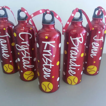 Personalized Softball Aluminum Water Bottles by slugger1st on Etsy