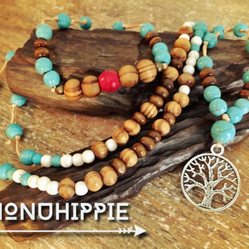 Tree of life mala necklace, boho hippie yoga jewelry