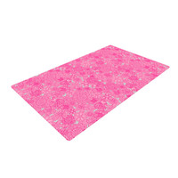 """Julia Grifol """"Welcome Birds To My Pink Garden"""" Woven Area Rug"""