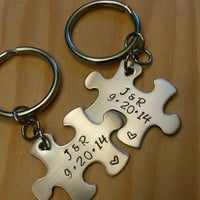 Hand Stamped Keychain - Personalized Keychain Couples Puzzle Piece Keychains - Anniversary Date