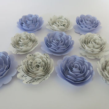 "lilac Purple and Sheet Music Roses, princess theme girl's room decor, large 3"" roses, set of 10, bridal shower decorations, bake sale table"