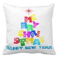 Merry Christmas Happy New Year Throw Pillow