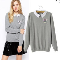 Gray Cute Cat Print Long Sleeve Sweater