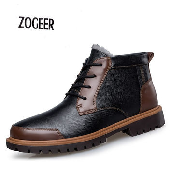 EU38-47 Men Genuine Leather Snow Boots Vintage Outdoor Ankle Rubber Boot Men Waterproof Work Shoes Super Warm Men's Winter Shoes