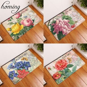 Homing Durable Light Thin Doormats for Entrance Door Vintage Stamp Peony Flower Printed Carpets Water Absorption Bathroom Rugs