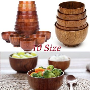 Natural Wooden Bowl Soup Rice Noodles Bowls Kids Lunch Box Kitchen Tableware Accessories 10 Size