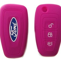 Ford Pink Car Silicone Protecting Remote Key Case Cover Fob Holder for Ford Focus Ranger 2011 2012 2013 with 3 Buttons (Single Pack)