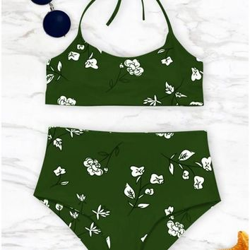 C| Chicloth Women Swimwear Floral Print Halter Bandage Backless Swimsuit Beach Wear Bikini Set